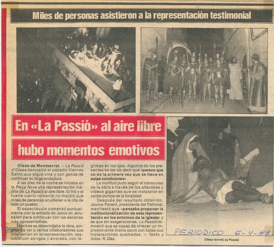 Noticia La Passió al carrer després incendi Gran Teatre La Passió Olesa 1983