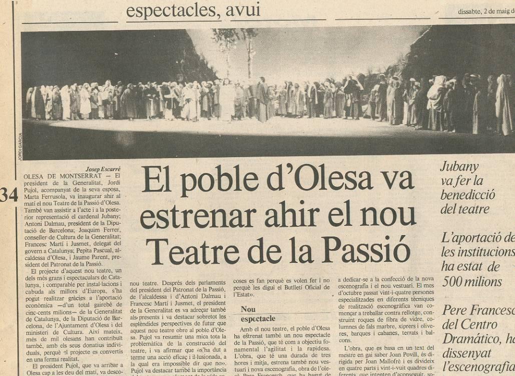 Notícia inauguració nou Teatre La Passió Olesa 1987