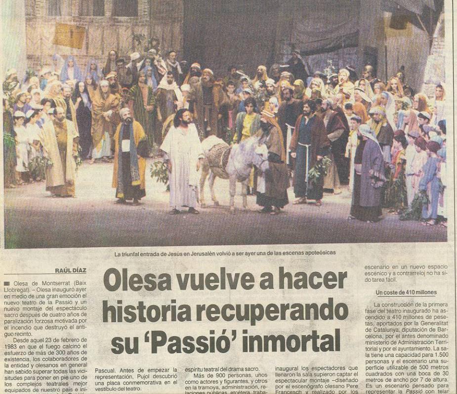 Notícia primera representació al nou Teatre de La Passió Olesa