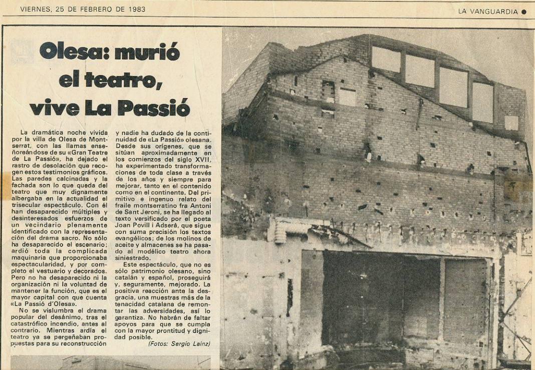 Noticia incendi Gran Teatre La Passió Olesa 1983