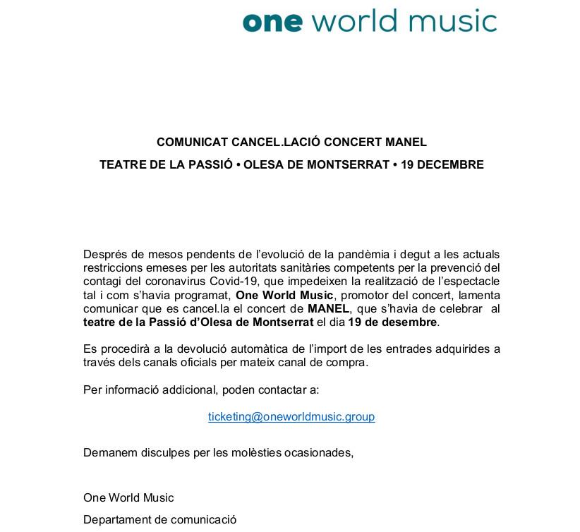 Comunicat One World Music