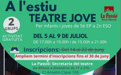 Els tallers de teatre jove d'aquest estiu es faran del 5 al 9 de juliol a La Passió